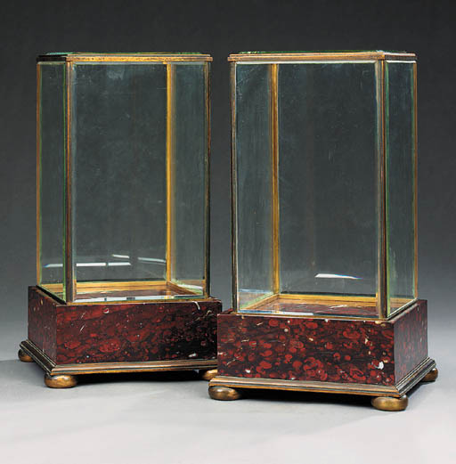 A pair of glazed display cases