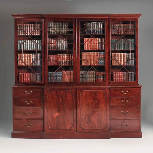 A mahogany breakfront library