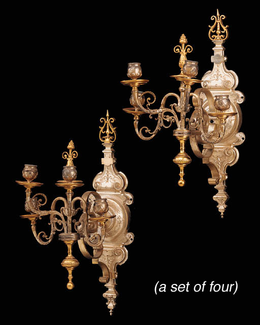 A set of four French silvered