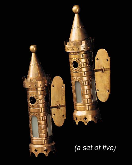 A set of five brass wall light