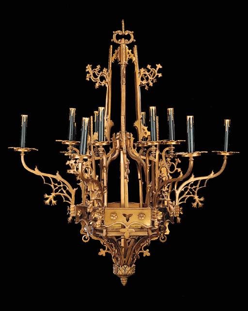 A gilt brass twelve light chan