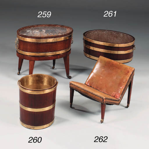 A brass-bound mahogany bucket,