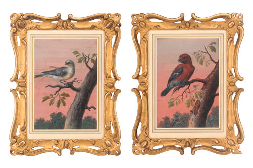 A pair of gouache pictures of