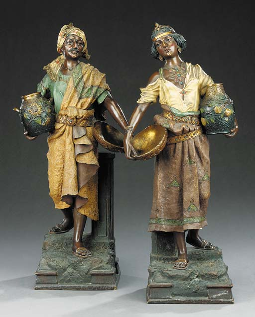 A pair of Austrian polychrome