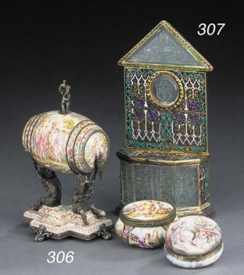 A Viennese enamelled silver an