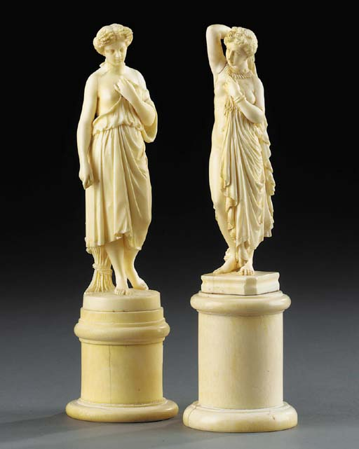 Two carved ivory figures of ma