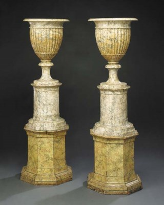A pair of Italian alabaster ur