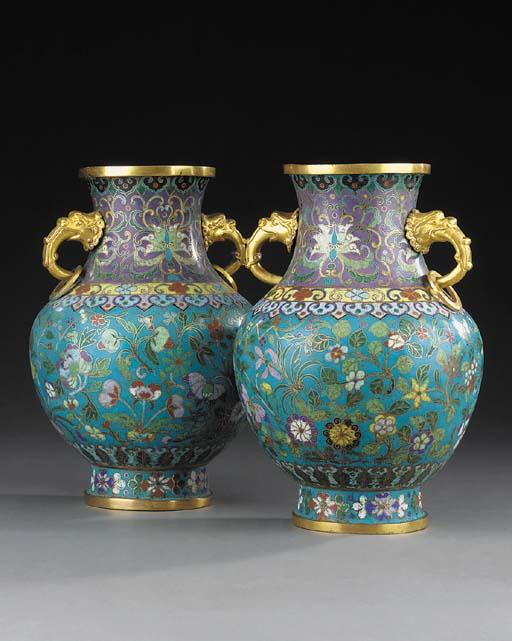 A pair of Chinese cloisonné en