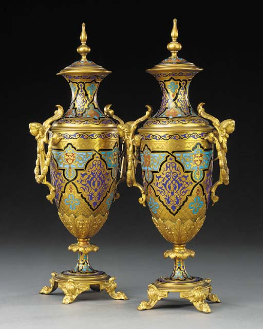 A pair of French enamel and gi