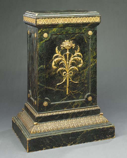A polychrome and gilt decorate