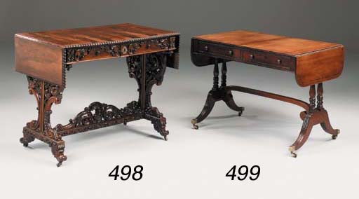A carved rosewood sofa table,