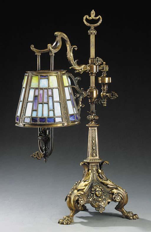 An American bronze table lamp,