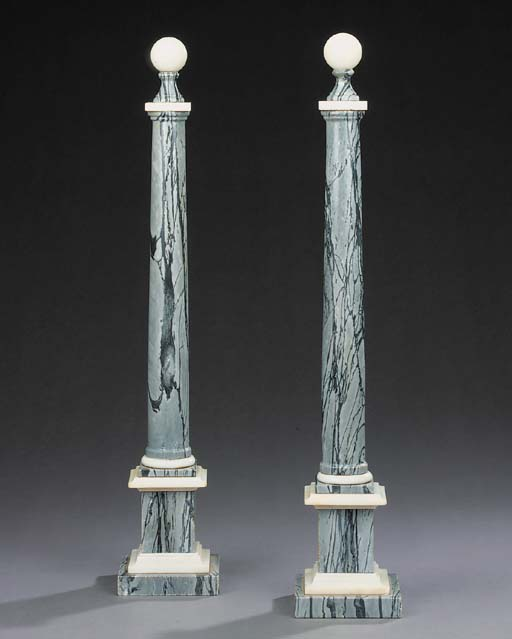 A pair of ornamental marble co