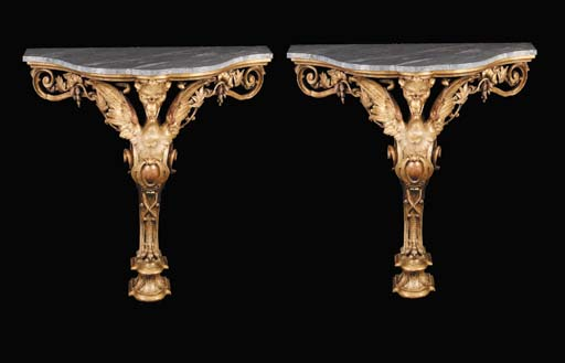 A pair of Victorian carved gil