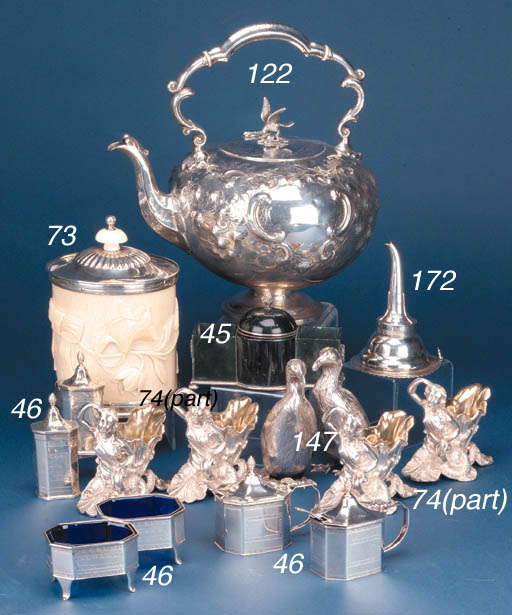 EIGHT PLATED FIGURAL SALTS