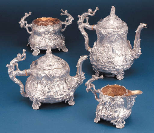 A FOUR-PIECE VICTORIAN TEA AND