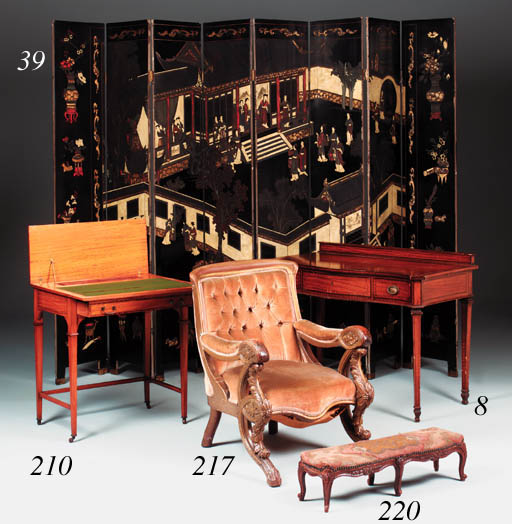 A mahogany serpentine desk, la