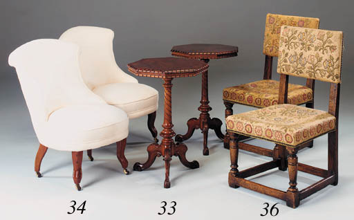 A set of eight oak and upholst