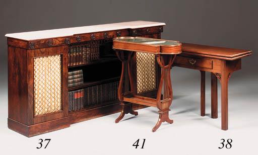 A mahogany and brass mounted v