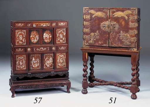 An Oriental leather-bound and