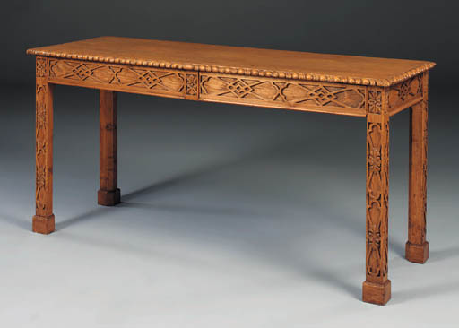 A pine serving table, 19th cen