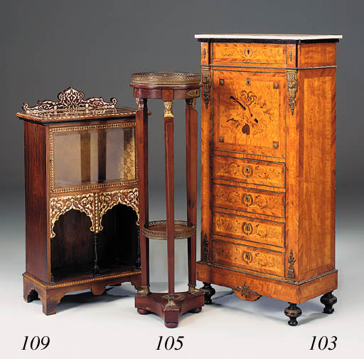 A rosewood and mother-of-pearl inlaid display cabinet, 20th century