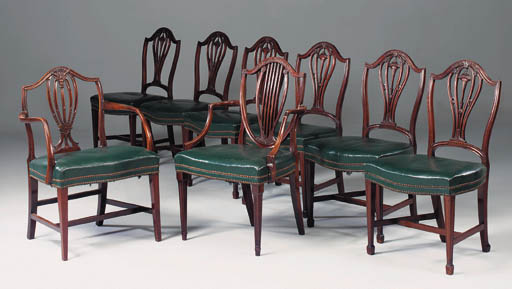 A set of six mahogany chairs,