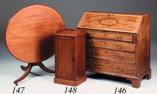 A mahogany crossbanded and lin