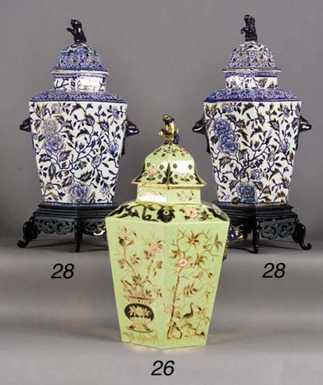 A pair of English pottery blue