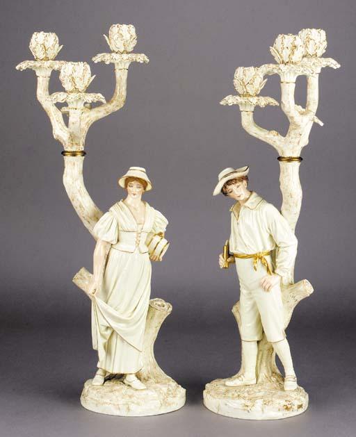 A pair of Royal Worcester ivor