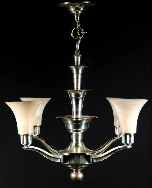 A FRENCH SILVERED METAL CHANDE