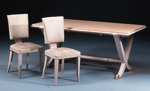 A FRENCH LIMED OAK DINING SUIT