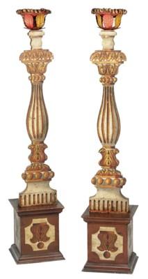 A pair of Italian polychrome w