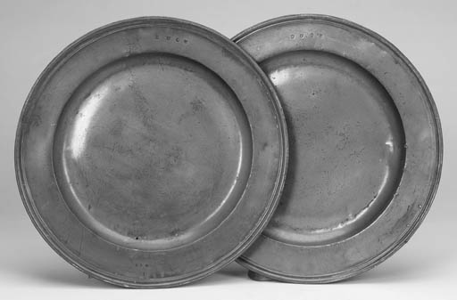 A pair of pewter triple reeded