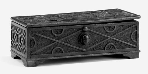 A carved mulberry wood casket,