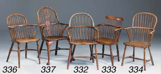 A YEW-WOOD AND ELM LOW BACK WI