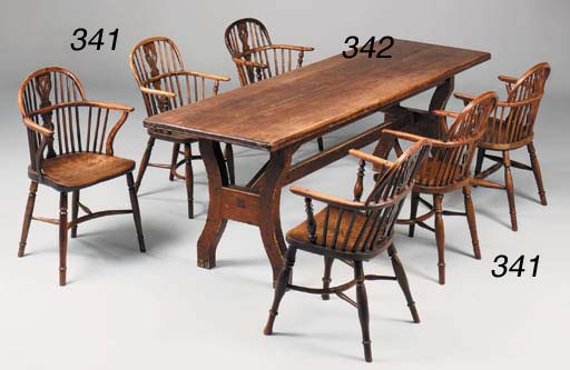 A MATCHED SET OF FIVE YEW WOOD