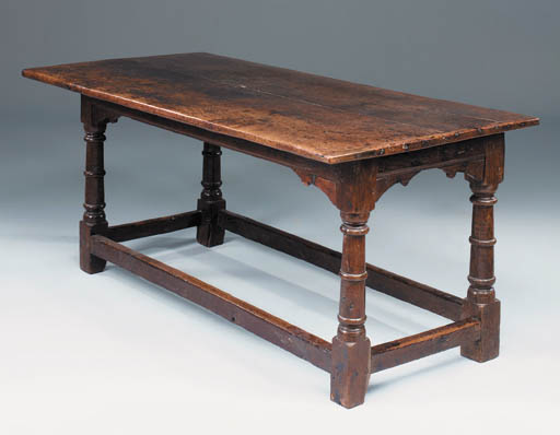 AN OAK REFECTORY TABLE, ENGLIS