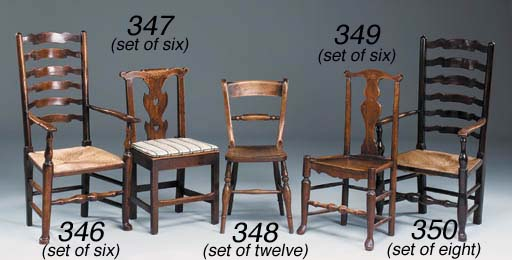 A SET OF SIX ASH DINING CHAIRS