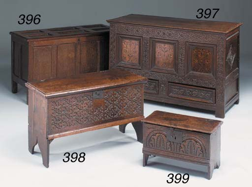 An oak and marquetry chest, Yo