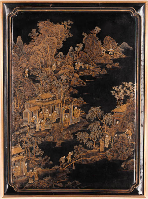 A Chinese gilt lacquer panel 1
