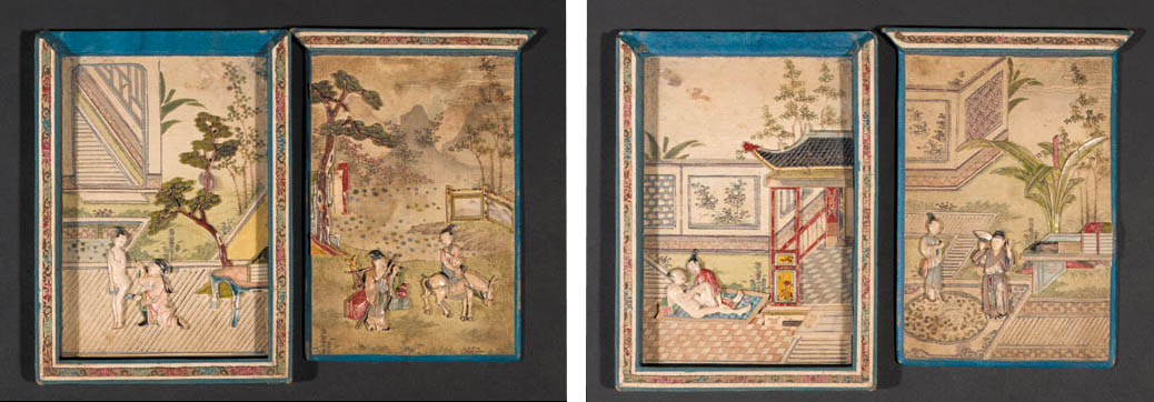 Two Chinese stained ivory and