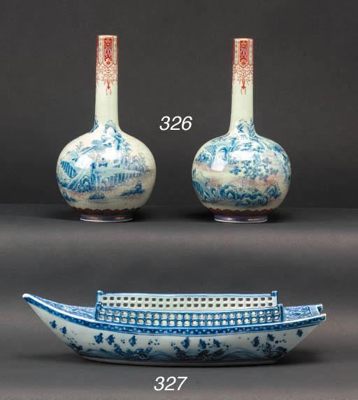 A pair of Fukugawa bottle vase