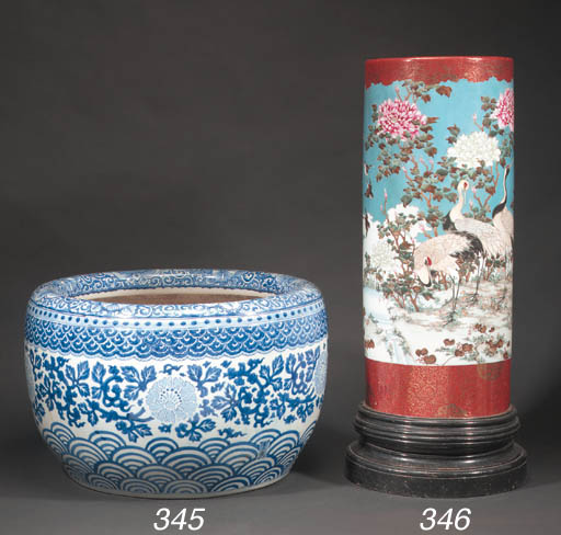 A Japanese blue and white jard