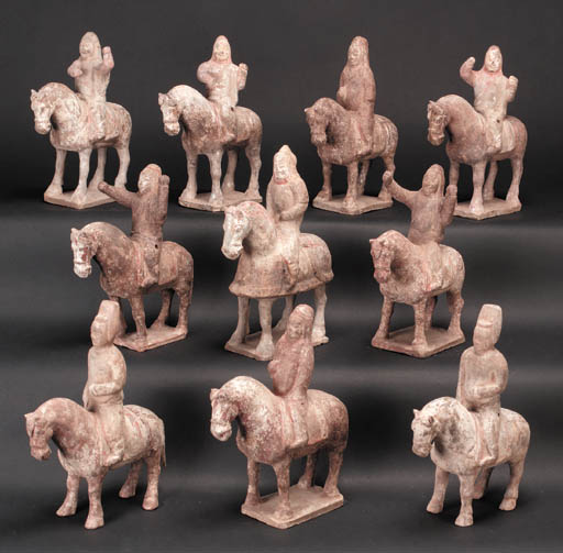 A group of ten pottery models