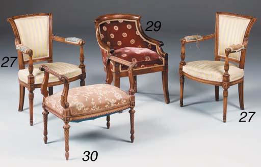 A French walnut stool, Late 19