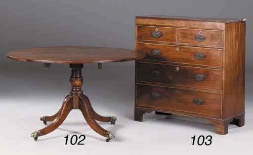 A mahogany and line inlaid che