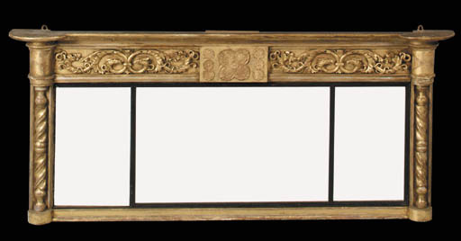 A triple plate giltwood and eb