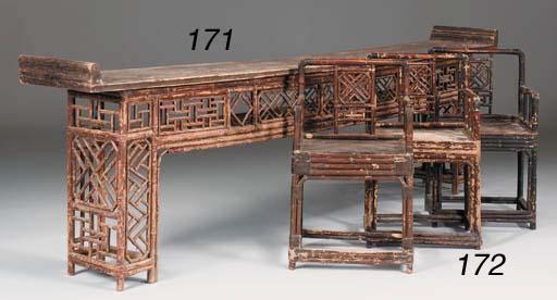 A set of six Oriental bamboo a