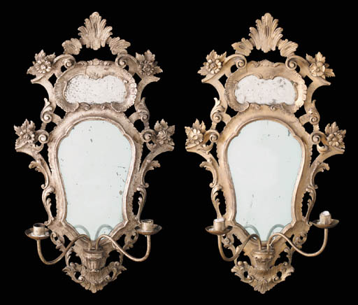 A pair of gilt and silvered-gi